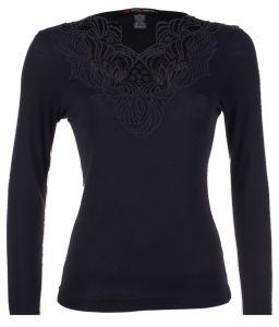 Langarm Shirt schwarz mit Makramee Spitze Wolle Seide Merino von Artimaglia Made in Italy
