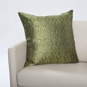 Seidenbrokat Zierkissen Madras grün 50x50cm (Füllung nicht enthalten)