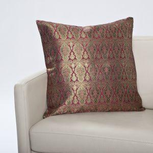 Seidenbrokat Zierkissen Madras rubin 50x50cm (Füllung nicht enthalten)