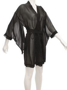 Seide Morgenmantel kurz Kimono 100% Seide schwarz von Marjolaine