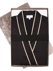 Seidenpyjama schwarz gold Fidji Satin von Marjolaine