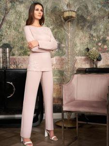 Winter Modal Pyjama Elizabeth altrosa mit Spitze von Imec