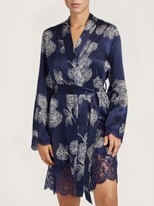 Seide Kimono Toi Mon Amour nachtblau-sand Blumenmuster von Aubade