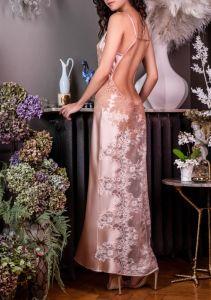 Langes Seidenneglige Nina puderrosa mit beige von Marjolaine