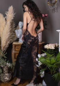 Langes Seidenneglige Nina schwarz von Marjolaine