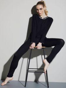 Modal Damen Schlafanzug WKND No. 2 schwarz-puder von Verdiani Weekend