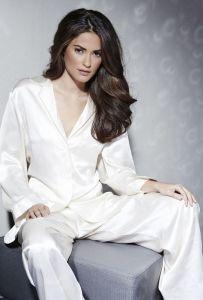 Pyjama Klassik Seide Satin champagner Eva B. Bitzer