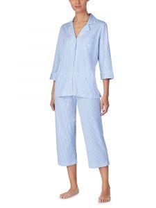 Pyjama Baumwolle Viscose Stripes blau Lauren by Ralph Lauren Sleepwear für Damen