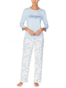 Jersey Schlafanzug Ivory Floral hellblau von Lauren Sleepwear by Ralph Lauren