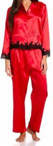 Seide-Schlafanzug Sakhali rot-schwarz von Gattina