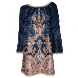 Langarm Shirt Kleid Moon Shadow dunkelblau gold aus Baumwolle Seide von Gattina