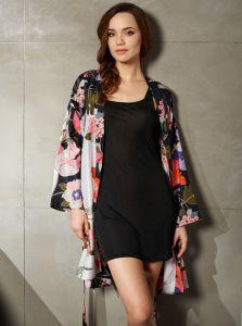Kimono schwarz Seide Baumwolle mit Druck - das Unterkleid ist nicht im Lieferumfang enthalten