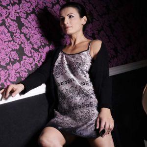 Nachthemd Dark Beauty grau schwarz aus Baumwolle Seide von Gattina