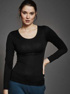 Seide + Bio-Baumwolle kbA Langarm-Shirt schwarz von Kokon Zwo