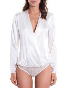 Blusen-Body elfenbein-weiß aus 100% Seide von Luna di Seta