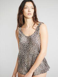 Camisole Trägerhemd 100% Seide Satin Bitzer Leopard Animal Print