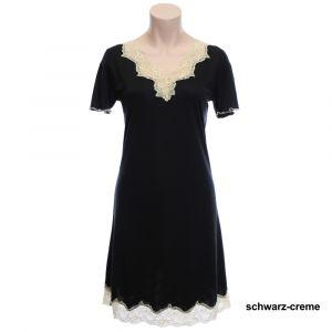 Wirkseide Kurzarm Nachthemd Mahé schwarz / creme von Nightdreams