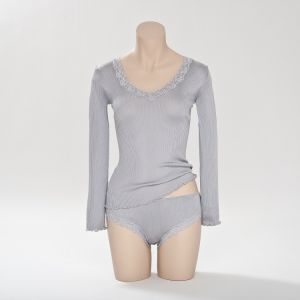 Seiden- Langarm-Shirt in Silber von Gattina (Slip separat erhältlich)