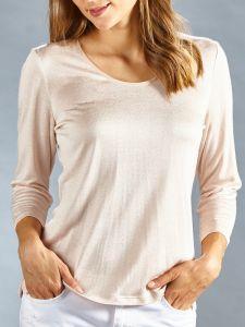 Seidenshirt Cinda 3/4-Arm Shirt Seide Leinen in puder-rosé ohne Muster von Kokon Zwo