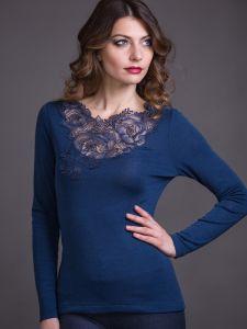 Merinowolle-Seide Langarmshirt mit schweizer Spitze von Artimaglia nachtblau