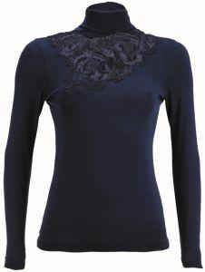 Merinowolle-Seide Rollkragen Shirt mit schweizer Spitze von Artimaglia nachtblau