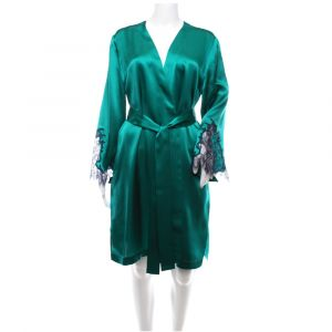 Seide Morgenmantel Royal Lace smaragdgrün