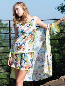 Seide Sommerpyjama Papillon weiß bunt - der Morgenmantel ist nicht im Lieferumfang enthalten