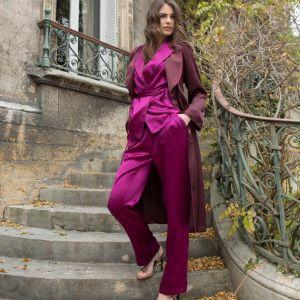 Seidenpyjama Soie Unie in der Farbe beere-violett von Marjolaine - der Morgenmantel ist im Lieferumfang nicht enthalten