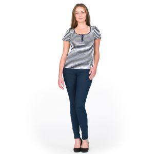 Seide-Baumwolle T-Shirt Arona marine-champagner von Gattina