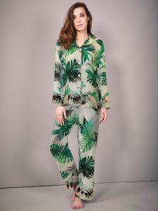 Seidenpyjama Farn in weiß grün von Eva B. Bitzer