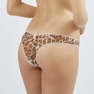 Chiffon-Seide String Wild Thing Leopard mit rosa Spitze von Mimi Holliday