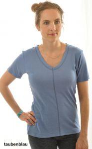 T-Shirt Bourette-Seide taubenblau von Alkena