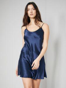 Unterkleid 100% Seide Satin dunkelblau Bitzer auch als kurzes Nachthemd