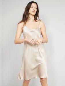 Unterkleid 100% Seide Satin gold sand Bitzer auch als kurzes Nachthemd