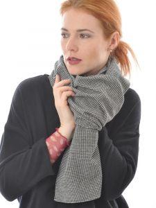 Seide Wolle Flanell Schal schwarz weiß von Alkena