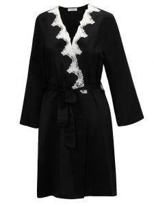 Seide Morgenmantel  Satin + Lace schwarz mit weiß von Eva B. Bitzer