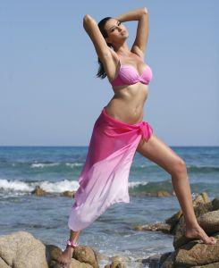 Seiden-Pareo Irvine rosa kombiniert mit Bikini Iguape (separat erhältlich)
