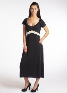 Kurzarm-Seidennachtkleid Tahiti schwarz-creme von Gattina Nachtwäsche