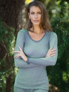 Wolle-Seide Langarmshirt Breeze M/L schilfgrün von Madiva Eco Future