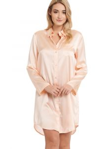 Seide Sleepshirt Seduzione di Seta zart apricot pearlypink von Gattina