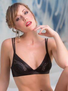 Stretchseide Triangel-BH Speciale von Cotton Club Seta Superior in schwarz