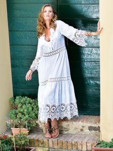 Sommerkleid lang mit Spitze weiß von Chiara Fiorini