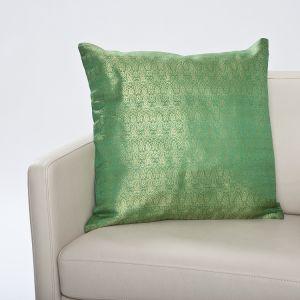 Seidenbrokat Kissenhülle Varanasi smaragd-grün 50x50cm (Füllung nicht enthalten)