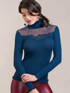 Wolle-Seide Rollkragenshirt Alena in nachtblau von Madiva