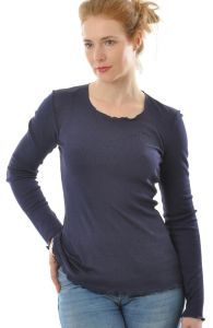 Alkena Langarm-Shirt Wolle Seide Nachtblau gerippt