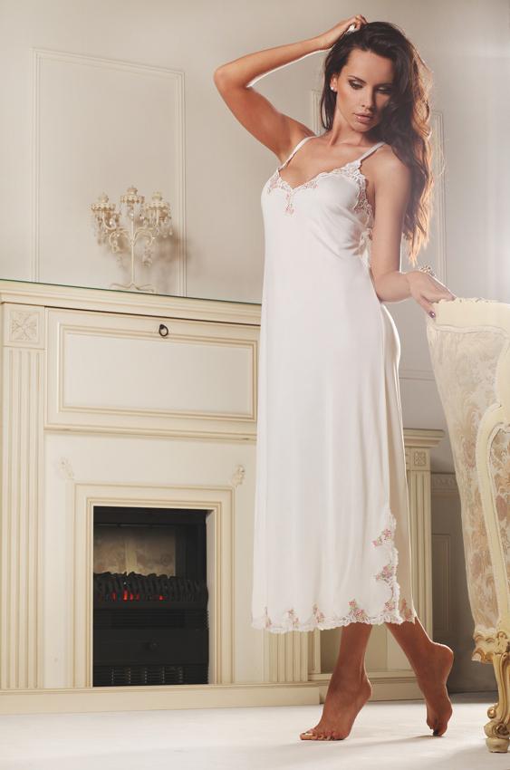 gattina seide neglig lang palermo wei rosa wirkseide mit spitze nachthemd neu ebay. Black Bedroom Furniture Sets. Home Design Ideas